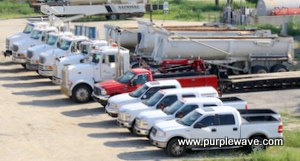Trucks and vehicles in the construction equipment liquidation auction