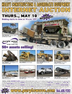 May 10 heavy construction and aggregate equipment auction flyer